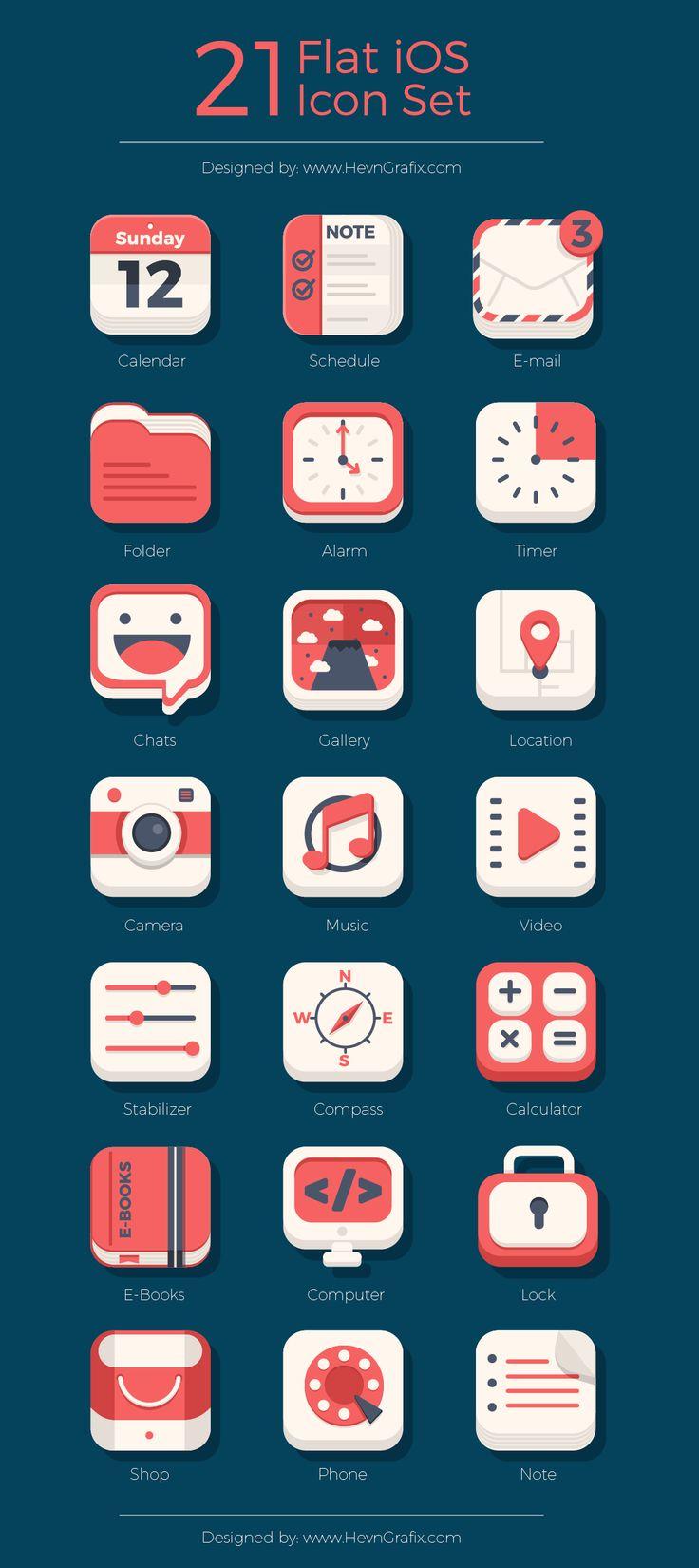 Free 21 Flat iOS Icon Set Ios icon, App icon design