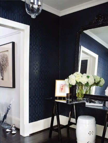 Imperial Trellis in Onyx Black by Schumacher  Here is the Schumacher wallpaper in this beautiful entry way.  Designer Ferreira Design via Decor Pad