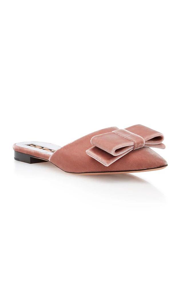 rose velvet slides
