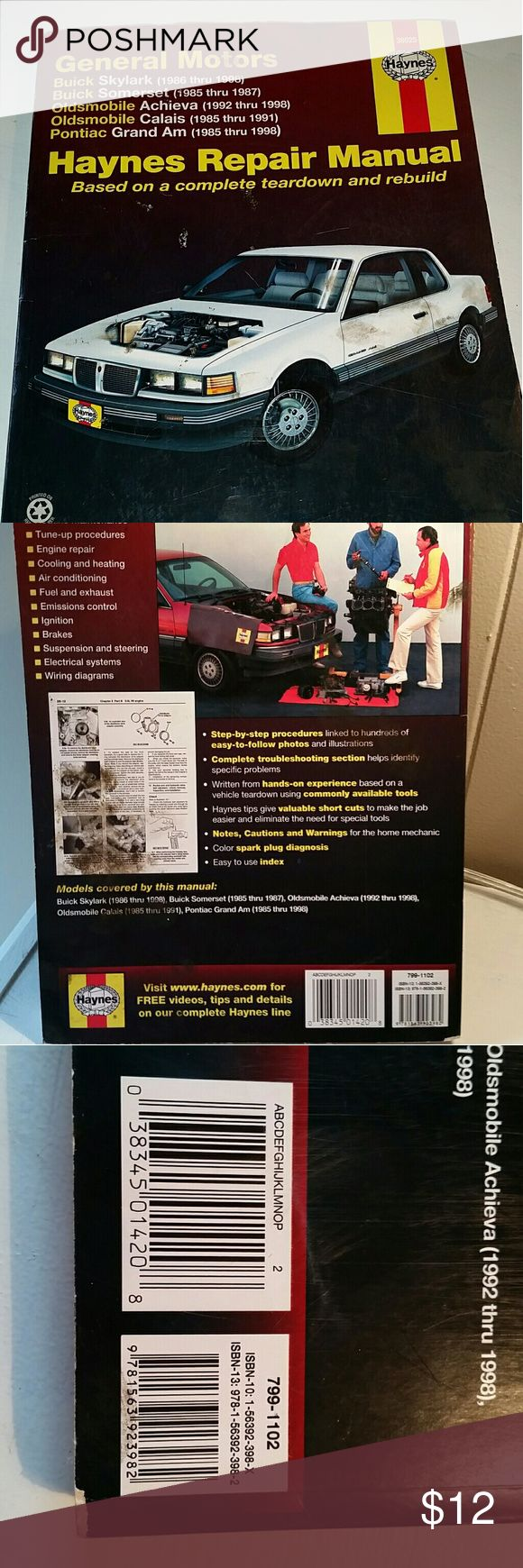 Haynes Repair Manual Haynes Repair Manual - Genersl Motors - Buick Skylark (1986-1998) , Buik Sonerset (1985-1987), Oldsmobile Achieva (1992-1998), Oldsmobile Calais (1985-1991), Pontiac Grand Am (1985-1998) Haynes Other