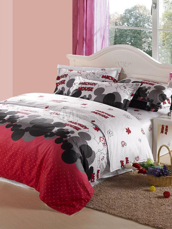 Cute Mouse Printing 4-Piece Cotton Bedding Set - Milanoo.com
