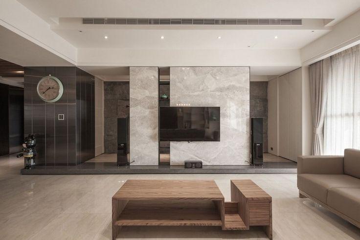 wohnzimmer mit marmor wohnwand und mbel in neutralen farben marmor marble pinterest neutrale farbe marmor und wohnzimmer - Fantastisch Marmorboden Wohnzimmer