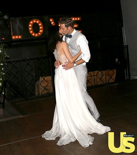 Perrey Reeves and Aaron Fox dance at their wedding on June 12.