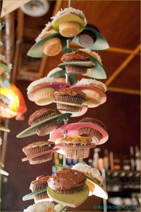 hanging cupcake display - fun for birthday party!