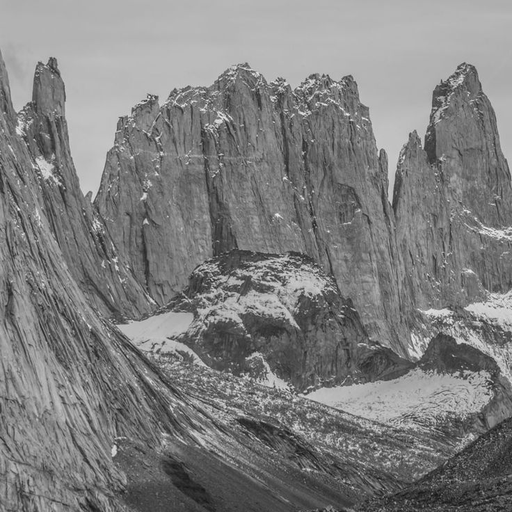 Black and white or in color...the mountains of Patagonia always look spectacular.  #patagonia #torresdelpaine #adventure #nature #hiking