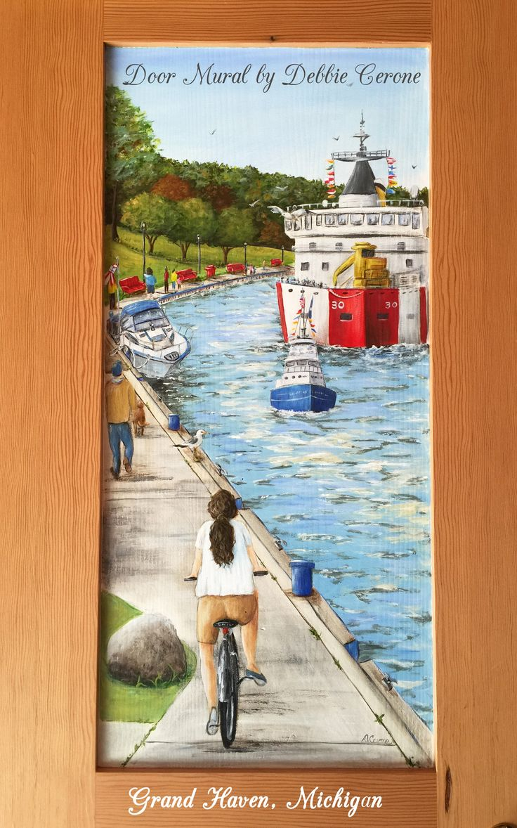 great grand haven michigan door mural of the channel with. Black Bedroom Furniture Sets. Home Design Ideas