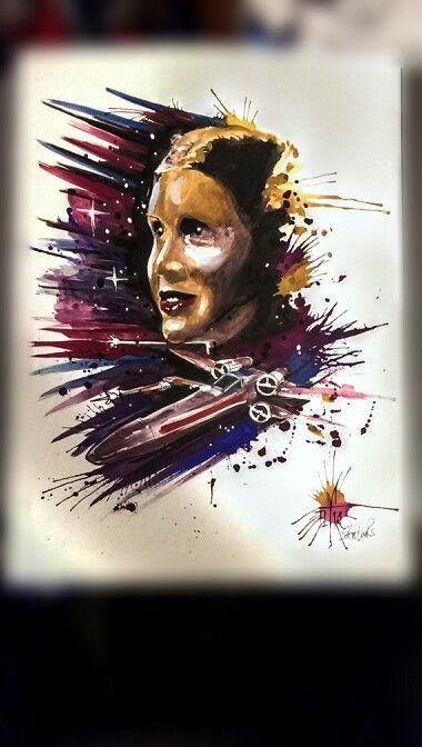 Princess lela star wars in watercolor