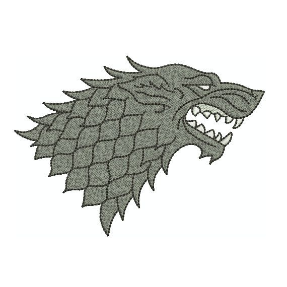Machine Embroidery Design Instant Download - Wolf Game of Thrones Stark Sigil