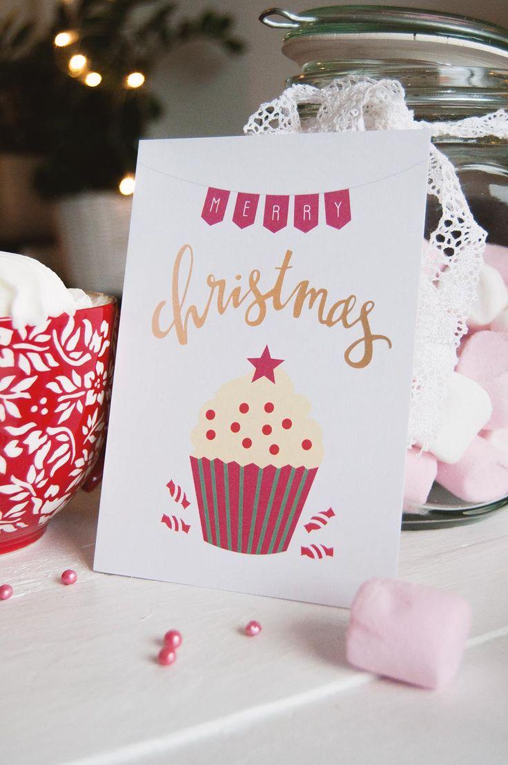 Merry christmas christmas card joulukortti cupcake kuppikakku vaahtokarkki