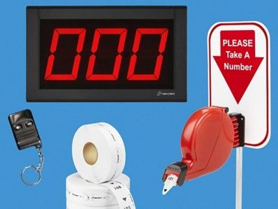 """3-Digit Take-A-Number System - Wireless. Reduce waiting time and improve customer service. Electronic system includes large 5"""" numeric LED display. Countertop stand, ticket dispenser and three push buttons. Ticket rolls sold separately."""