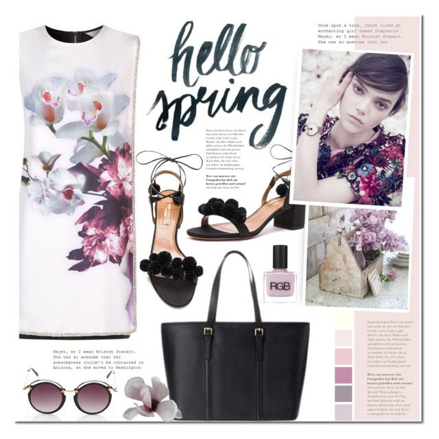 Spring flowers by mada-malureanu on Polyvore featuring Ted Baker, Aquazzura, Spitfire, RGB Cosmetics, SpringFever, Dudu and dudubags