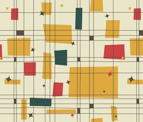 Spoonflower mid-century modern fabric featuring abstract shapes in yellow red and green on a neutral background