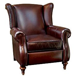 "Chamberlain ""Designer Style"" Leather Wingback Recliner - Leather Recliners"