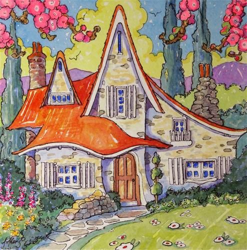"Daily Paintworks - ""San Bernadino Storybook Bungalow Storybook Cottage Series"" - Original Fine Art for Sale - © Alida Akers"