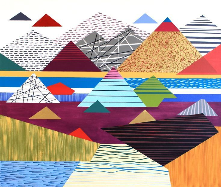 Original large painting with mountains - abstract painting My Personal Landscape 10, 85x100cm was created in vibrant acrylic bright colours (spring / summer colours) o...
