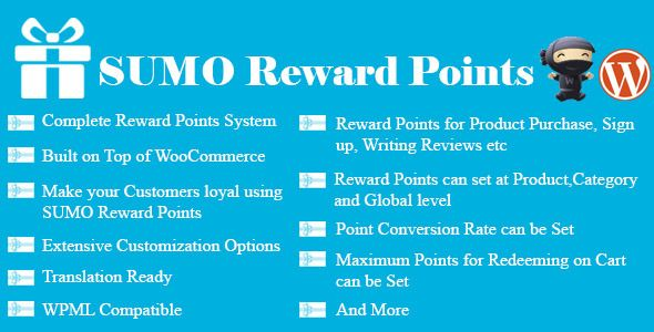 SUMO Reward Points is a Complete WooCommerce Loyalty Reward Points System. Reward your Customers using Reward Points for Product Purchase, Writing Reviews, Sign up, Referrals on your site. The earned Reward Points can be redeemed for future purchases. SUMO Reward Points offers the flexibility to offer reward points at Product Level, Category Level and Global Level.