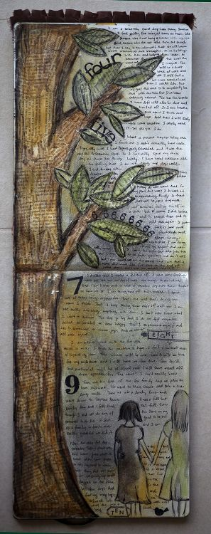 Two page lay-out vertical... love the idea, karenika art journal page