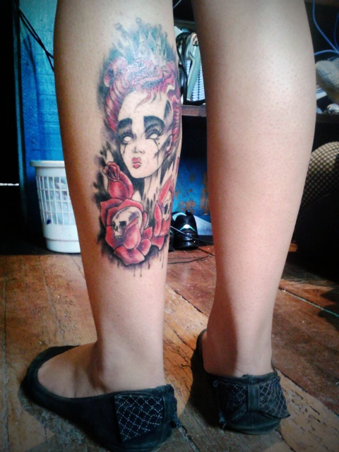 Calf piece done by dainez antenor at nen tattoo studio for Red queen tattoo