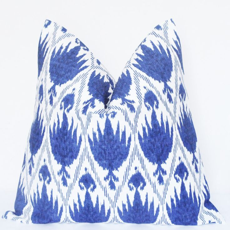 Handmade Pillow, Pillow Cover, Decorative Pillow, Throw Pillow, Toss Pillow, Sofa Pillow, Blue Ikat, Home Furnishing,Home Decor, Made in USA by UrbanPillow on Etsy https://www.etsy.com/listing/205803661/handmade-pillow-pillow-cover-decorative