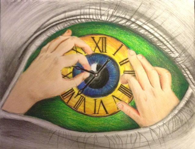 One of my favorite art project's done by a student. Draw your eye super realistic and the inside should be totally creative.