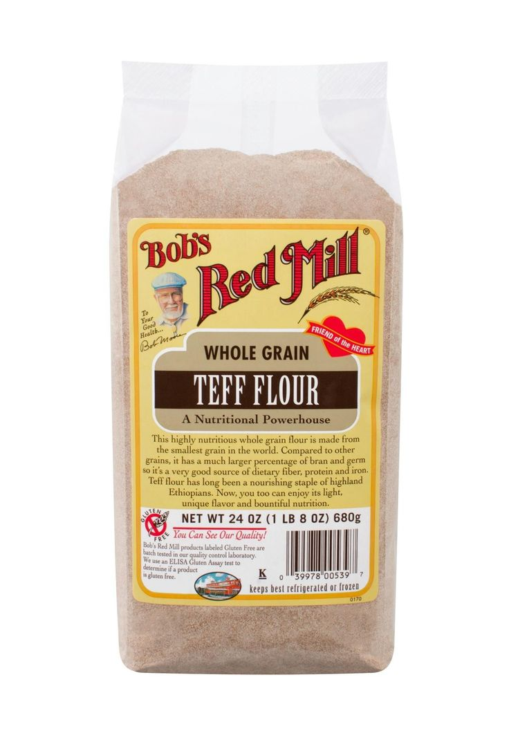Teff Flour comes from a gluten free ancient grain that originated in North Africa. Substitute teff flour for about 25% of the white flour called for in baked goods recipes for increased nutrition and distinctive flavor. Teff is a good source of iron and an excellent source of fiber.