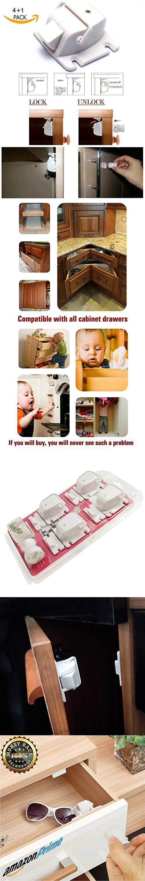 LifeHack.Baby Safety Magnetic locks (4 Locks+1 Key) for Cabinets Drawers.Easy Installation. No Tools Or Screws Needed