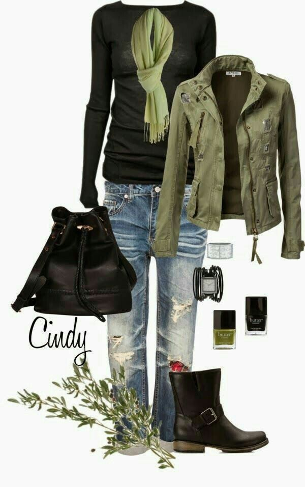 Love the olive green, very cute look.