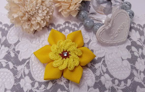 Fabric flower brooch yellow brooch crochet brooch by Rocreanique on Etsy