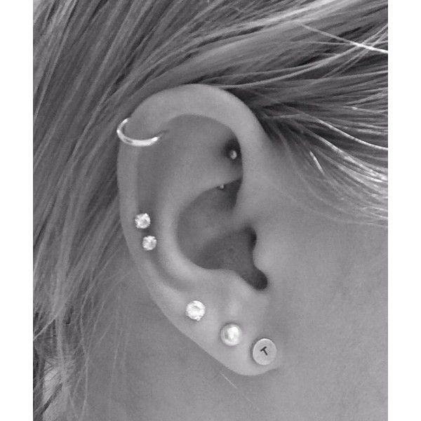 New double cartilage piercing! Best Friends Matching Ink ❤ liked on Polyvore featuring jewelry, earrings, piercings and ear
