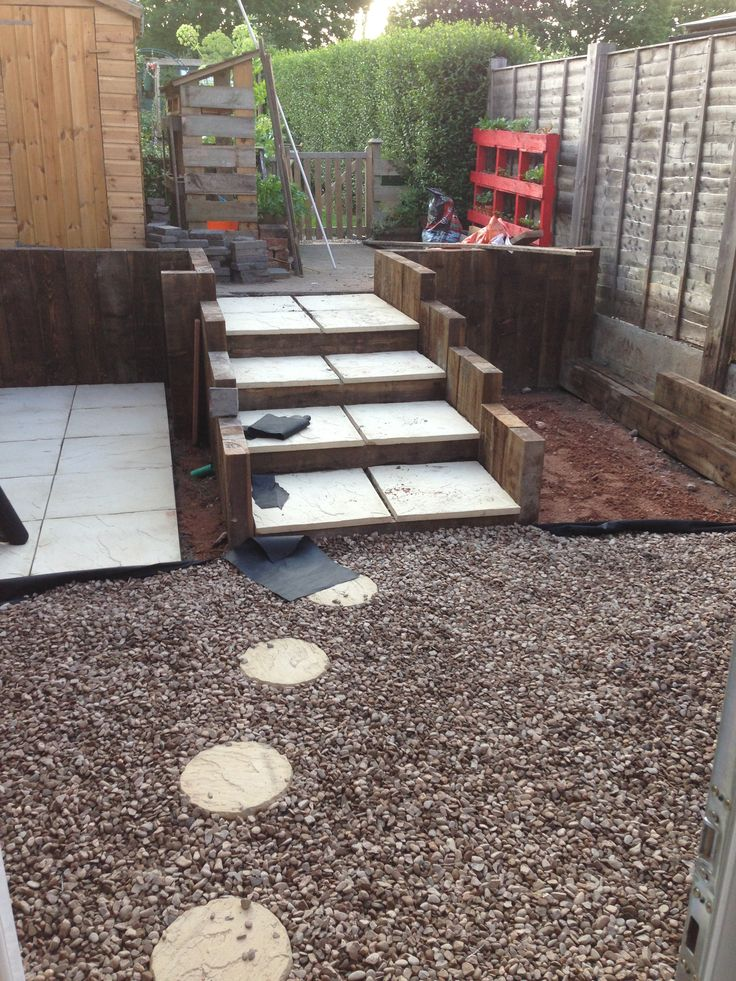 Sleepers and slabs are in for the steps and shed (kennel). We opted for some similar buff stepping stones from the house surrounded by 20mm gravel.
