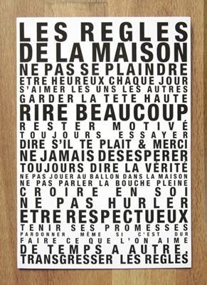 """Carte postale """"Les règles de la maison"""" - Feepascifeepasca"""