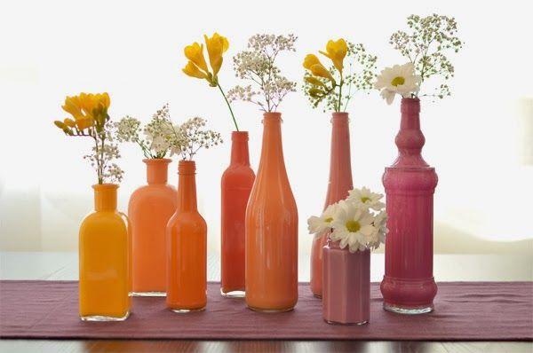 Personnalisez vos bouteilles et faites en de très beaux vases et soliflores avec La chica de la cas caramelo.               Source