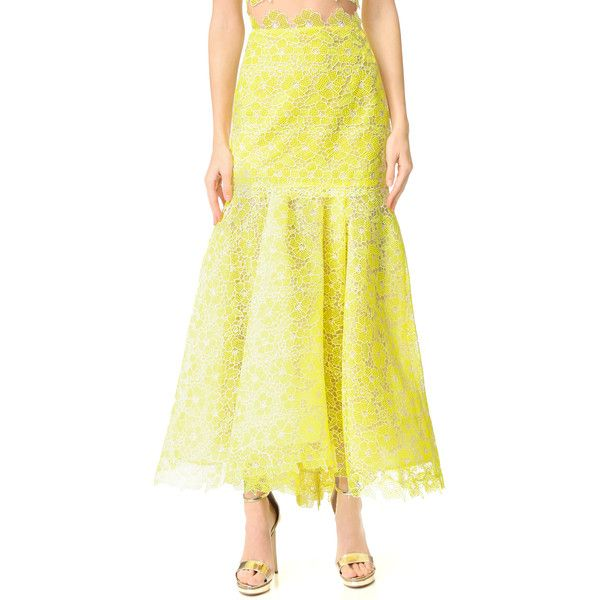 Monique Lhuillier Lace Trumpet Skirt ($1,830) ❤ liked on Polyvore featuring skirts, lemon, floral printed skirt, yellow lace skirt, yoke skirt, lemon skirt and fitted skirts