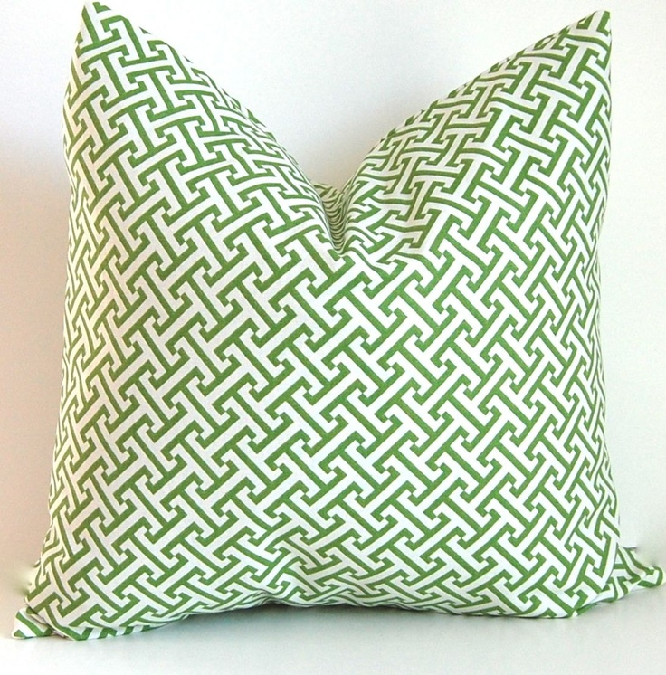 Greek Key Decorative Pillows Part - 44: Decorative Pillows Accent Pillow Cushion Covers Green And White Greek Key  20 X 20 Inches.