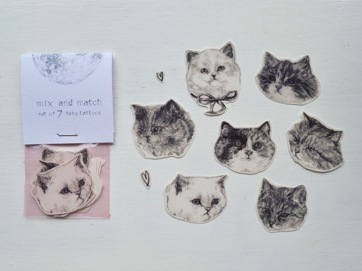 temporary tattoos - set of three fake cat tatts - 7designs to choose from - realistic tattoos - mix and match. £5.00, via Etsy.