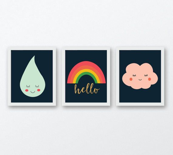 Kids set of 3 art prints Rainbow digital art print set brother and sister shared bedroom playroom decor wall art printable instant download