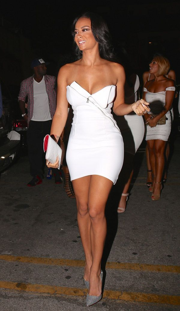 White Strapless Zip Dress by Valencia Atelier & Silver Christian Louboutin So Kate Glitter pumps: hot!