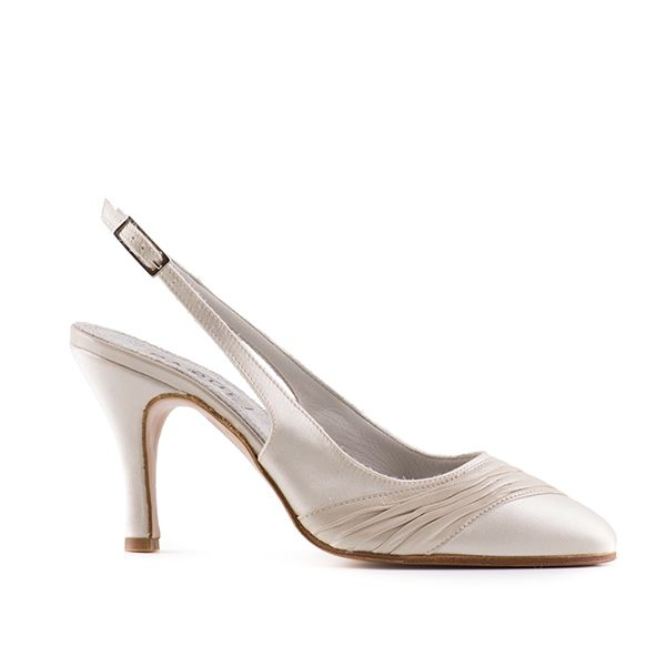 Slingback in ivory satin and pearled leather