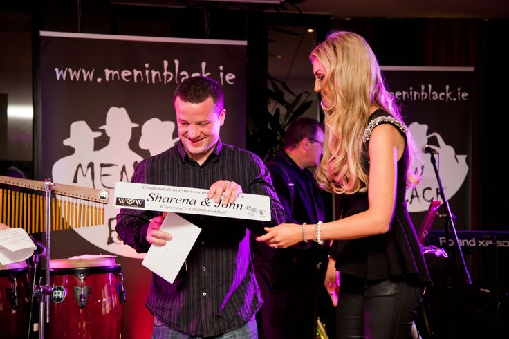 Rosanna Davison presents John (one half of the winning couple) with a personalised number plate from Irish Number Plates #wowcomp www.winourwedding.jimdo.com