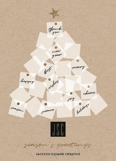 Foil Pressed Corporate Holiday Card With A Sticky Notes Christmas