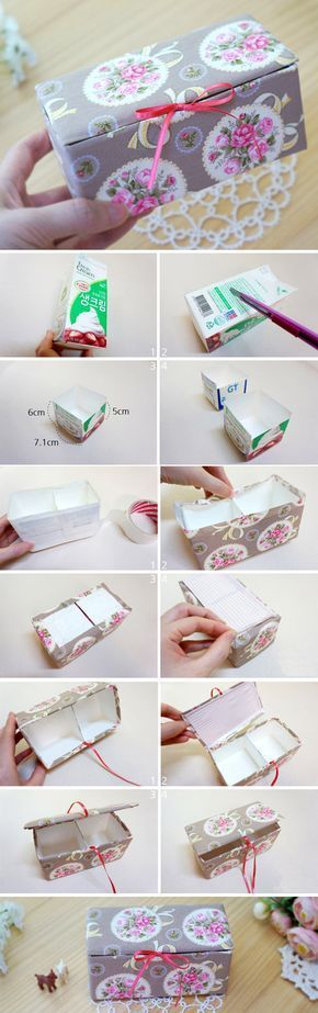 DIY Upcycled Milk Carton Storage Box Tutorial in Pictures. http://www.handmadiya.com/2015/11/fabric-box-tutorial.html #recyclingmilkcartons