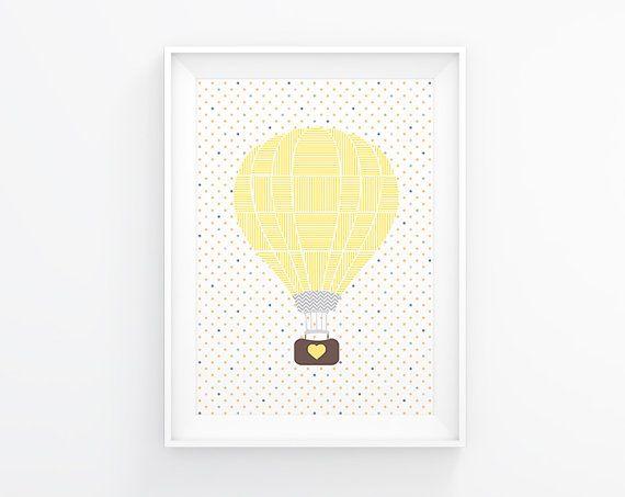 Gender neutral Nursery art - Hot air balloon