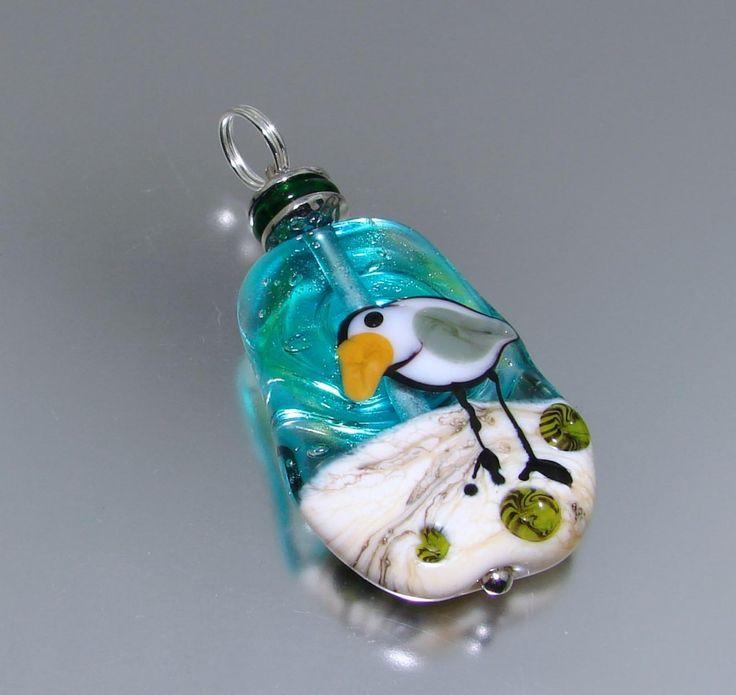 MaryAnne Cunnigham - West Australian Artist Seagull on Beach 2  Flamework Glass Bead Focal Pendant