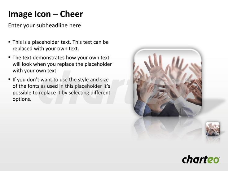 Convey a joyful atmosphere inspired by teamwork during your upcoming PowerPoint presentation with our Cheer Image Icon. Download now at http://www.charteo.com/en/PowerPoint/Backgrounds-Images/Photo-Icons/Image-Icon-Cheer-PowerPoint.html