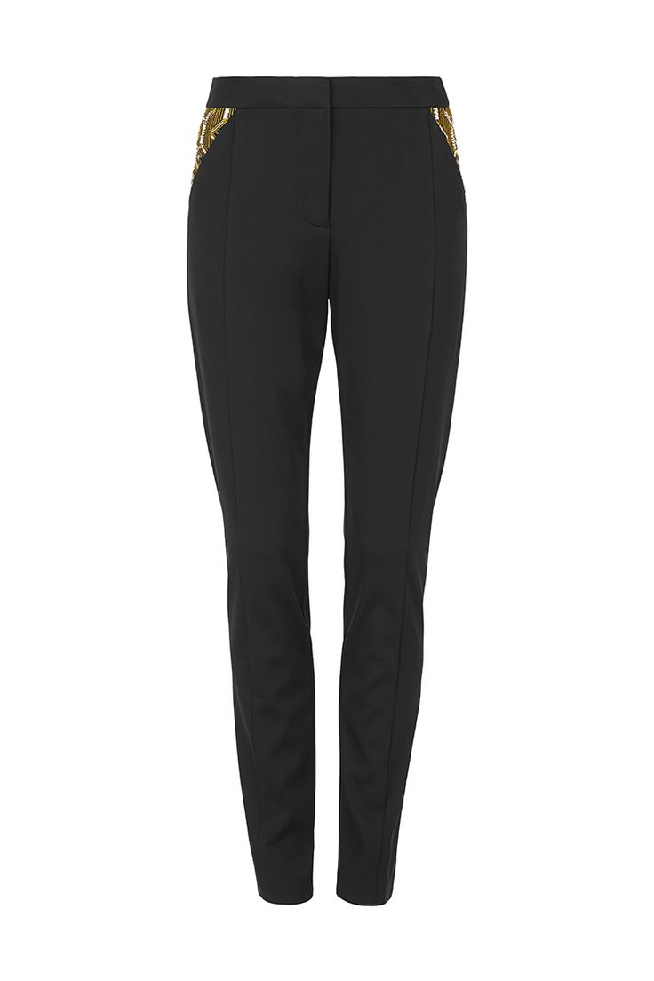 GIVE ME OPTIONS - slim fit, tailored pant with embroidered & hand embellished detailing at hip panels. features side front pockets & tailored waistband with closure.
