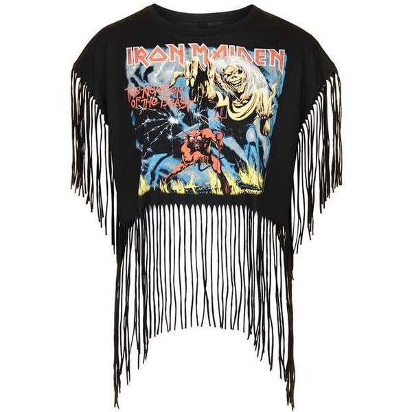 Iron Maiden Fringe Boxy Tee by and Finally ($33) ❤ liked on Polyvore featuring tops, t-shirts, loose t shirt, cotton t shirts, loose fit tops, vintage style t shirts and loose fitting tops