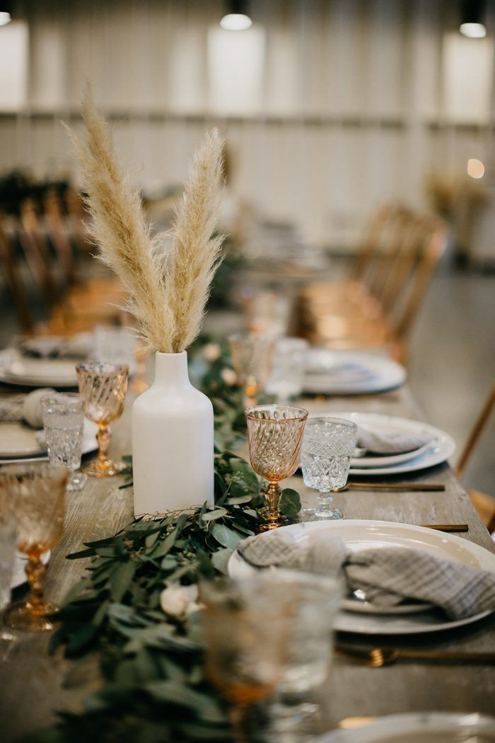 This Modern Rustic Lombardi House Wedding Is A Pinterest Dream With Copper Accents Junebug Weddings Boho Wedding Centerpieces Fall Wedding Centerpieces Wedding Table Centerpieces