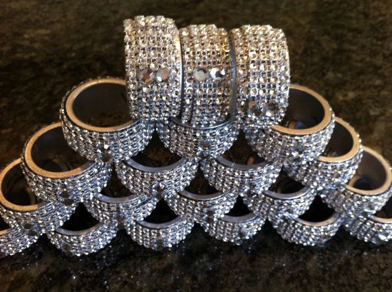 Silver and bling napkin rings by NanasCustoms on Etsy