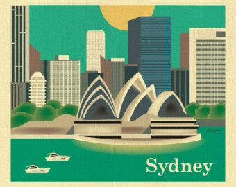 Sydney, Australia Skyline - City Destination Poster Print Wall Art for Home, Office, Children's Room - style E8-O-SYD