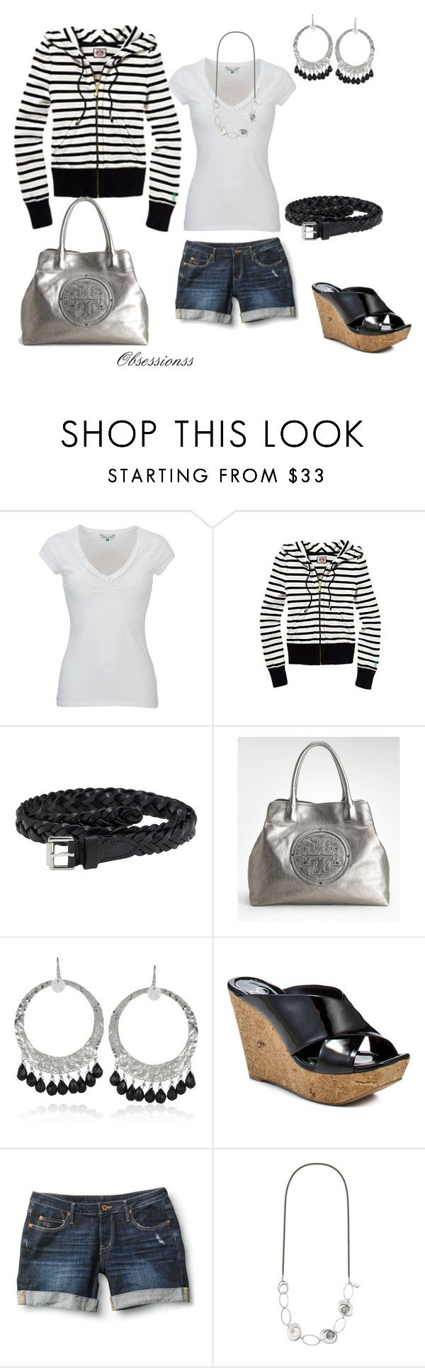 """Black and White Stripes"" by obsessionss ❤ liked on Polyvore featuring White Stuff, Juicy Couture, Mulberry, Tory Burch, Nicole Fendel, Jessica Simpson, Quiksilver, Swarovski Crystallized, metallic tote and long chain necklace"